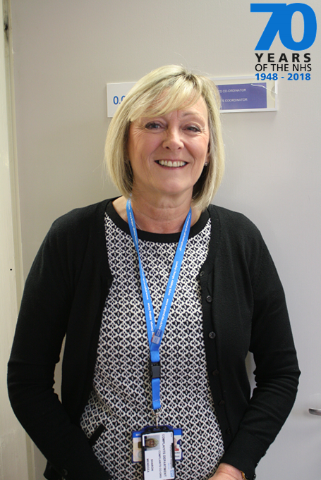 Sharon Mendoza, Complaints Coordinator, is celebrating NHS 70th with us