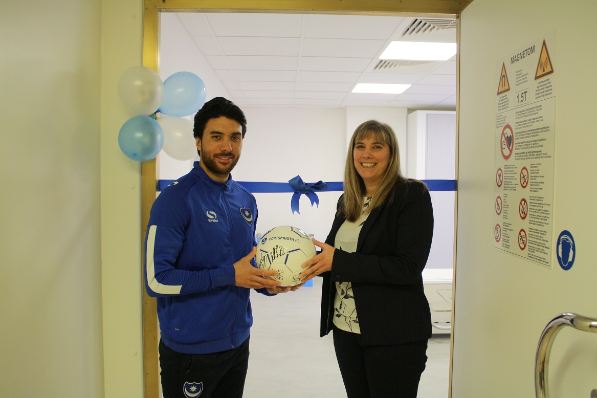 Pompey player unveils new MRI Scanner at QA Hospital