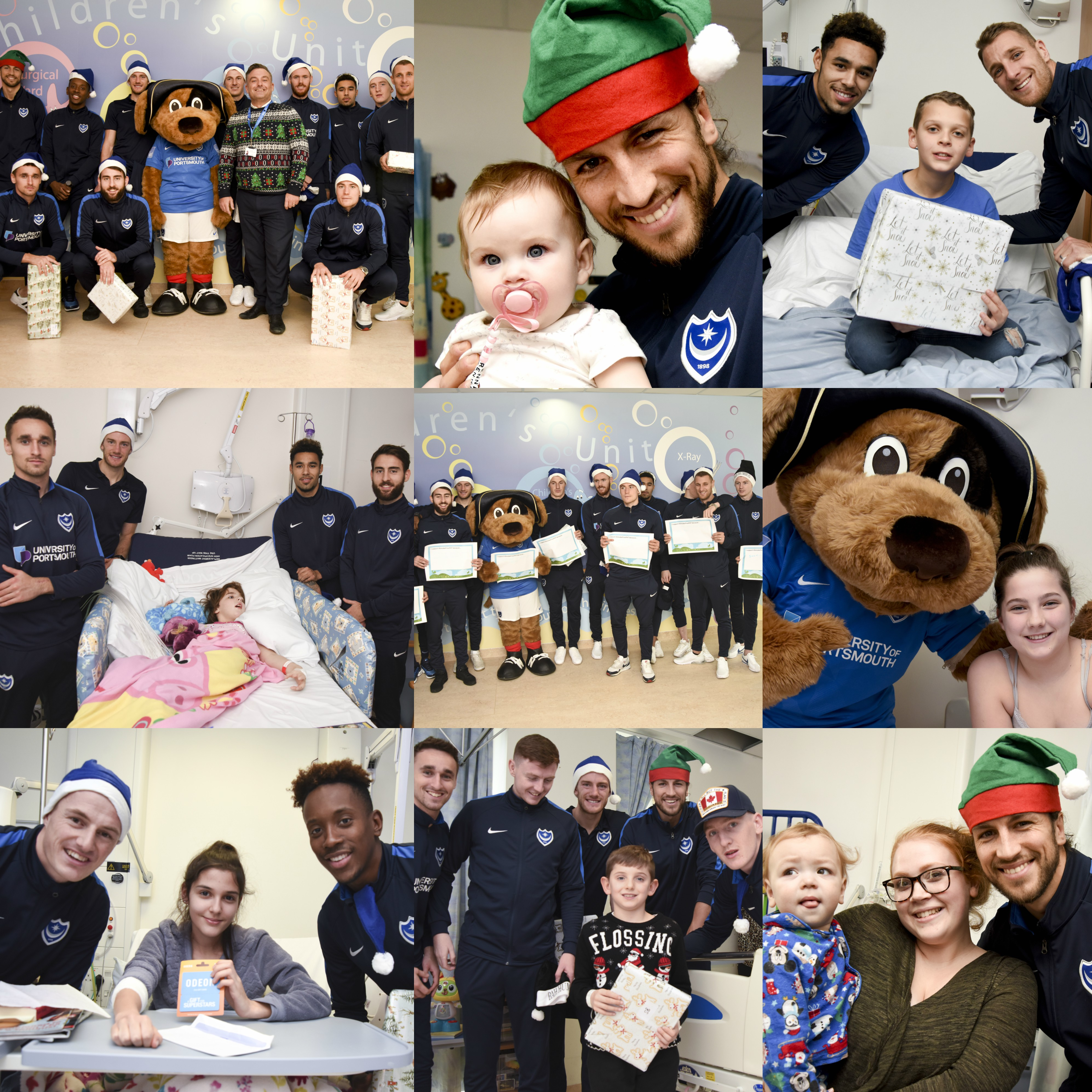 Portsmouth Football Club players pay Christmas visit to young patients at Queen Alexandra Hospital