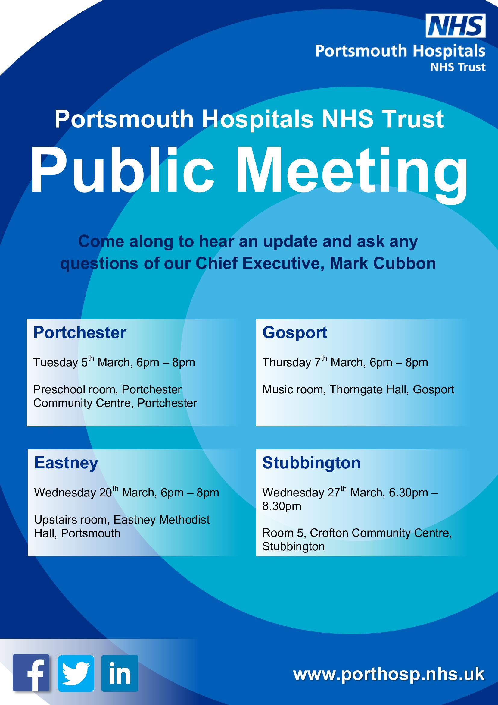 Portsmouth Hospitals NHS Trust Public Meetings in March 2019